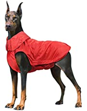IREENUO waterdichte hondenjas, warme hondenregenjas voor grote honden met veilige reflecterende strips & Kraag harnasgat