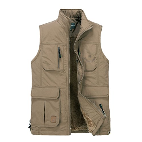 hombre Jacket Vest Working aire Coat Chaleco Gilet Warm Fathers Zipper Fishing Hiking Outdoor libre para Zhuhaitf Mens Thicken Khaki al EwTEq