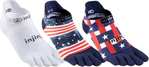 3 Pack Injinji Run 2.0 No Show Toe Socks (Usa Pride, Large)