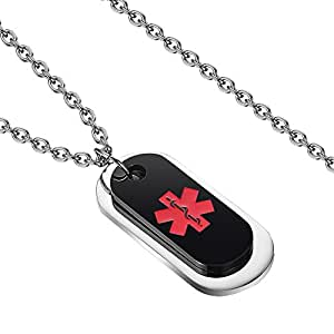KissYan Stainless Steel Dog Tag Type 1 Diabetic Medical