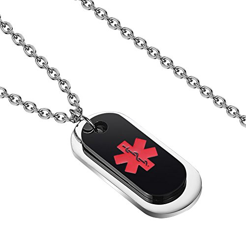 KissYan Stainless Steel Dog Tag Pendant with Type 1 Diabetic Medical Alert Necklace