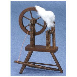 Dollhouse Miniature Walnut Spinning Wheel by Superior Dollhouse Miniatures