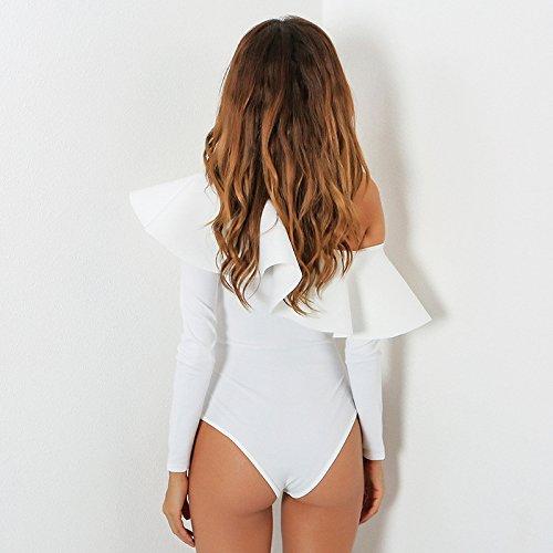 Vintage Bodysuit Blusa Fit Lunga Con Body Camicie Casuale Volant Ladies Elegante Manica Slim Donna Top Donne Giovane Bianca Moda Obliquo Battercake Spalla TxOaqFvTw