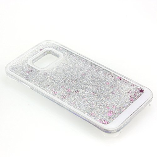 AENMIL Bling Case for Samsung Galaxy G9250, Cover for Samsung Galaxy S6 edge, 3D Quicksand Liquid Flowing Sparkles Shinny Glitter Bling Transparent Case Cover for Samsung Galaxy S6 edge G9250 (Silver)