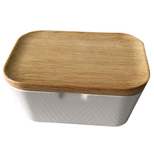 - Storage Boxes & Bins - Enamel Butter Dish Box Container With Wooden Cover Home Useful Storage 250ml Multi Function - Storage Bins Boxes Storage Boxes Bins Piece Wood Butter Container Ename