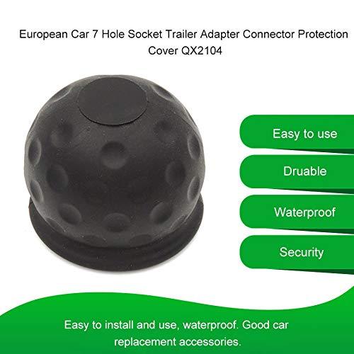European Car 7 Hole Socket Trailer Adapter Truck Rv Power Cord Socket Connector Ball Head Protection Cover-Black
