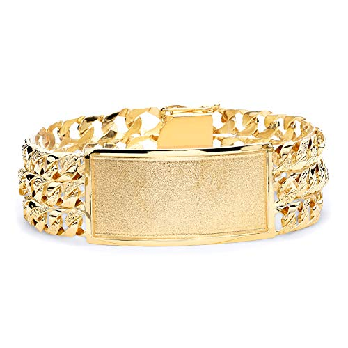 - Wellingsale 14k Yellow Gold Solid Solid Polished Mens 3 Line Nugget Cuban Link ID Bracelet - 9
