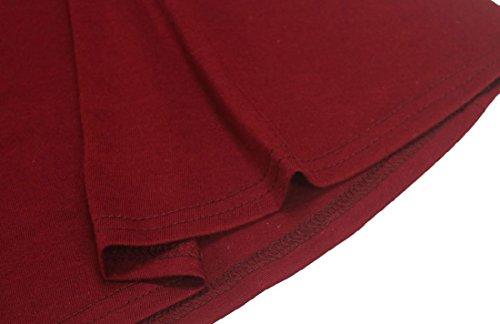 Femmes Coolred Lâche Pull À Manches Longues Robes De Grand Pendule Blouse Vin Rouge