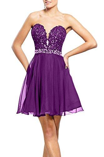 Tanzenkleider Spitze Kurzes Abendkleider Neu La Partykleider mia Mini Cocktailkleider Mini Brau Violett Festlichkleider 6O6vIqx