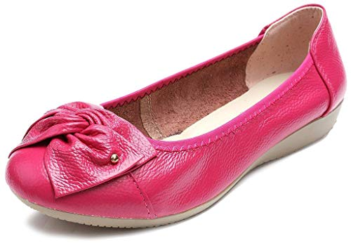 Working Shoes Fuchsia Loafers Leather Genuine Slip Fangsto Ons Women's Flats xvYFRn