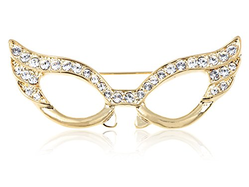Glass Rhinestone Pin (Alilang Gold Tone Clear Crystal Colored Rhinestones Cat Eye Glasses Mask Brooch Pin)
