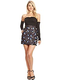 Anna-Kaci Womens Semi-Sheer Hand-Beaded Flower Sparkly Sequin Short Mini Skirt