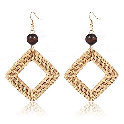 BSJELL Woven Rattan Earrings Handmade Straw Braid Wicker Hook Drop Earrings Wooden Bead Stud Geometric Lightweight Earrings for Women Girls(Square