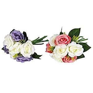 NBSY 2 PCS Artificial Flowers of Rose for Weddings and Parties, Art Decor for Home and Office 29