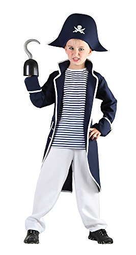 Bristol Novelty CC894 Pirate Captain Costume, White, Medium, Approx Age 5 - 7 Years, Pirate Captain (M)]()