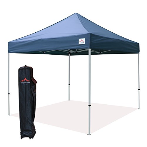 UNIQUECANOPY 10x10 Ez Pop up Canopy Tents for Parties Outdoor Portable Instant Folded Commercial Popup Shelter, with Wheeled Carrying Bag Navy - Portable Tents Party