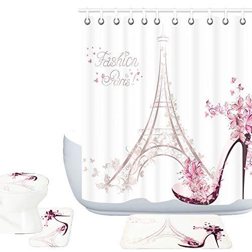 Amagical Paris Eiffel Tower Decor 16 Piece Bathroom Mat Rug Set Shower Curtainn Set High Heeled Shoes and Pink Flower in Paris Pattern Bath Mat + Contour Mat + Toilet Cover + Shower Curtain + 12 Hooks