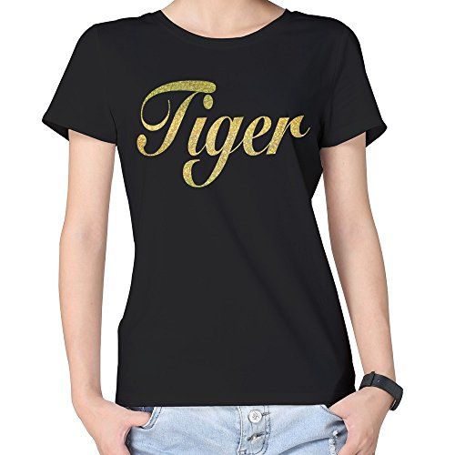 100% Cotton Woman's Golden Bling Tiger Words T Shirts Black (Golden Tiger Cotton Uniform)