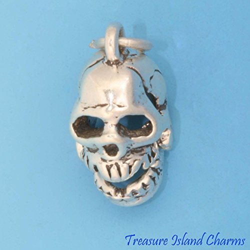 HUMAN SKULL with MOVABLE JAW 3D .925 Solid Sterling Silver Charm NEW HALLOWEEN Jewelry Making Supply Pendant Bracelet DIY Crafting by Wholesale Charms -
