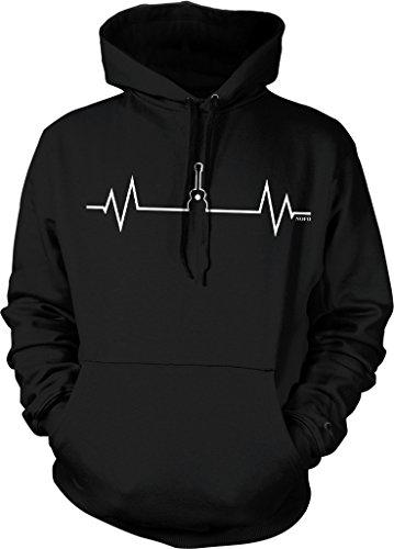 (Acoustic Guitar Heartbeat, Love Guitar Hooded Sweatshirt, NOFO Clothing Co. L Black)