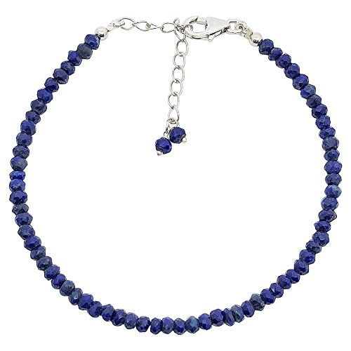 Mirabella BellaMira Sterling Silver Faceted Rondelle Beads Semi-Precious Gemstone Bracelet Artisan Crafted Handmade in India Fine Jewellery in Retail Gift Box