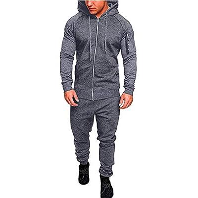 Easytoy Men's Autumn Winter Pocket Zipper Hoodies Sweatshirt Top Jogger Sweat Pants Sets Sports Suit Tracksuit