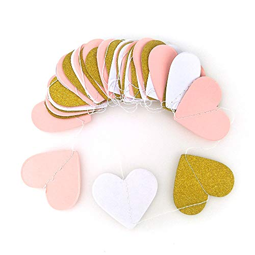 (COCOScent Paper Garland, 5 Pack/ 50ft Hanging Glitter Paper Garland Circle Dots for Wedding, Bridal Showers, Birthday Party, Baby Shower, Event & Party Decor (Heart Type-Pink White Gold))