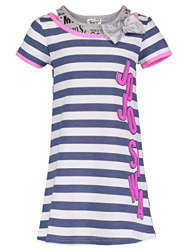 Jojo Siwa (994829WAS) Girls Logo Bow Stripe Dress in Blue Stripe, 6 (Fashion Stripe Bow)