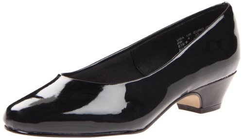 Ladies Dress Shoes Wide Width - Soft Style Women's Angel II Pump,Black Patent,8.5 W US