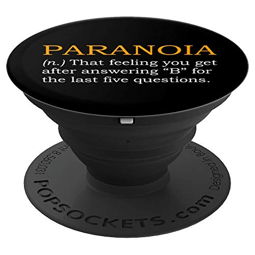 Paranoia Definition Funny College Student Humor Phone Grip - PopSockets Grip and Stand for Phones and Tablets