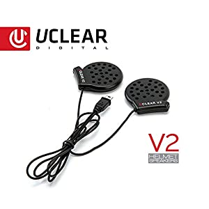 UCLEAR Digital 11015 V2 Wired Speaker Set for Full Face Helmet compatible with all HBC100 PLUS, HBC200 and AMP Bluetooth Headset Series (NOT HBC100)