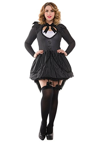 Jack Skellington Female Costume (Party King Women's Plus Size Bad Dreams Babe Sexy Costume, Black,)