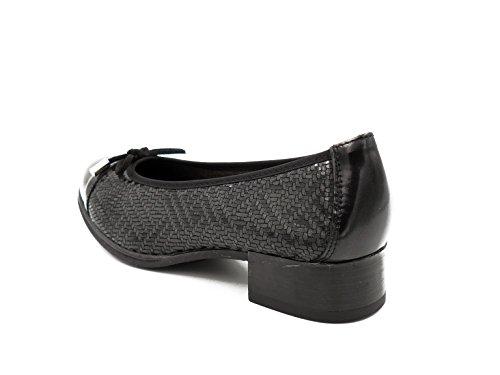 Negro 582 gris negro Pitillos Tacón Lycra 1363 Charol Manoletina Combinada En Con Negro AOPxznqa7w