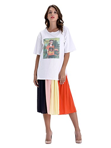 er Casual Round Neck Contrast Color Loose Pattern T-Shirt Splice 2 Pieces Outfit Dress ()