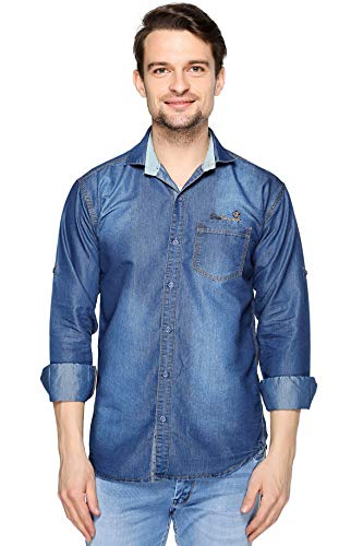 Lafantar Men #39;s Slim Fit Denim Shirt Blue