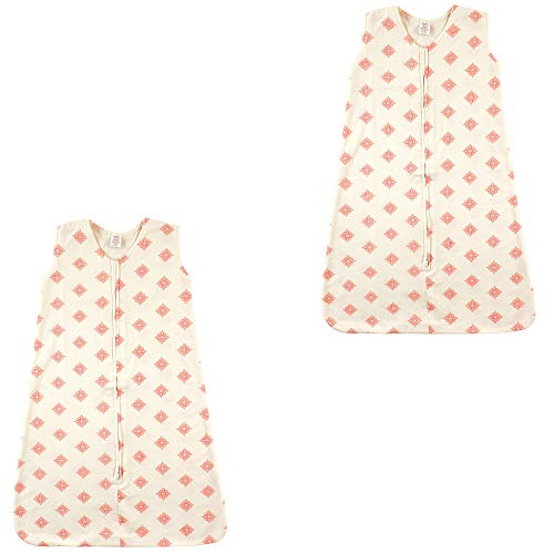 Touched by Nature Baby Organic Cotton Wearable Safe Printed Sleeping Bag, Dainty Rosette 2 Pack, 0-6 Months ()