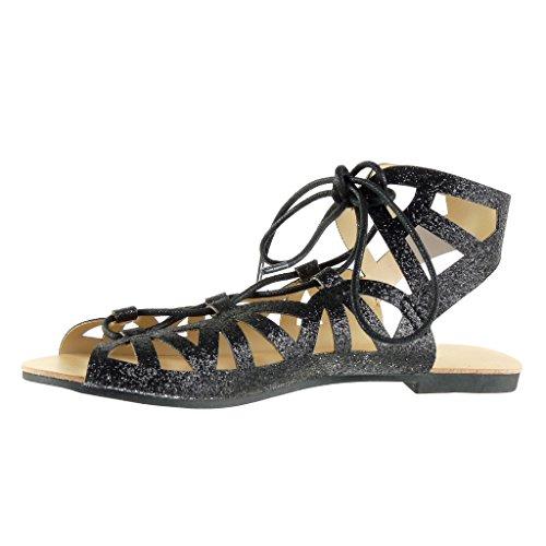 Angkorly - Scarpe da Moda sandali gladiatore sexy donna tanga paillette multi-briglia Tacco a blocco 1 CM - Nero