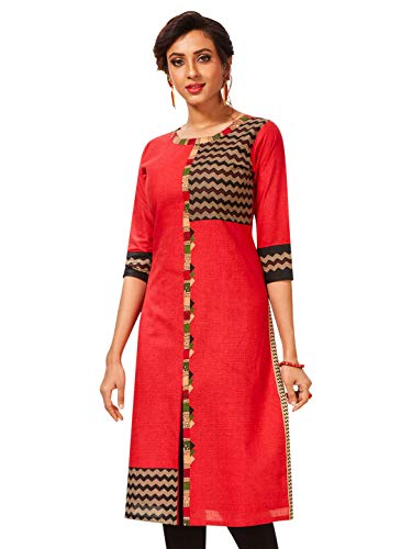 Jevi Prints Women's Cotton Unstitched Kurta Fabric (Fabric Only for Top) (Saheli-1802_Red_Free Size)