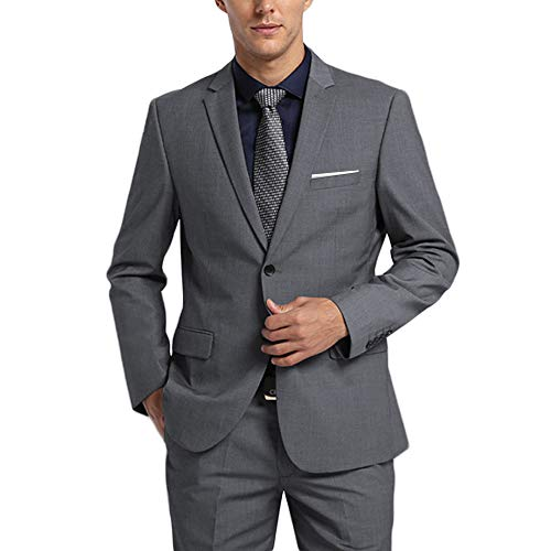 WEEN CHARM Men's Suits One Button Slim Fit 2-Piece Suit Blazer Jacket Pants Set Grey