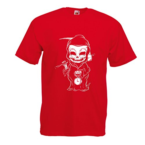 lepni.me T Shirts for Men The Grim Reaper, Death with Sickle Skeleton - Scarry Horror Design (XX-Large Red Multi Color)