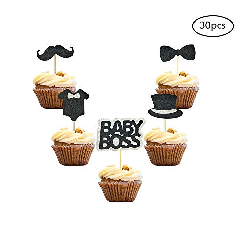30 PCS BABY BOSS Cupcake Toppers Glitter Kids Birthday Party Supplies Decorations Baby Shower Party Supplies]()