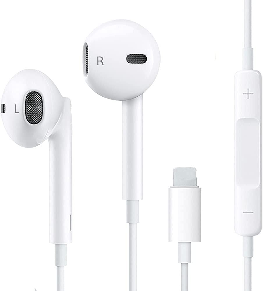 Headphones Wired Noise Isolating Earbuds Earphones Built-in with Microphone and Volume Control Compatible with iPhone 11Pro/12/7/8/XS/XR/X (White)