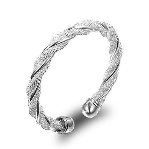 Fashion Women Jewelry Solid 925 Sterling Silver Bangle Bracelet Gift 925 Sterling Silver Bangle