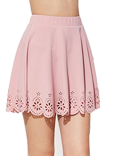 SheIn Women's Basic Solid Cutout Scallop Hem Flared Mini Skater Skirt Small Pink