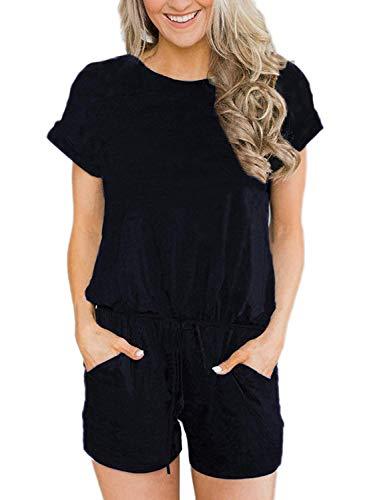 Deloreva Women Summer Short Jumpsuit - Casual Loose One Piece Workout Cotton Romper Pants Set Playsuit Black S