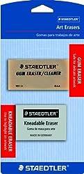Staedtler Art Erasers, 1 Ea Kneadable Eraser & 1-each Art Gum Eraser, 525925bk