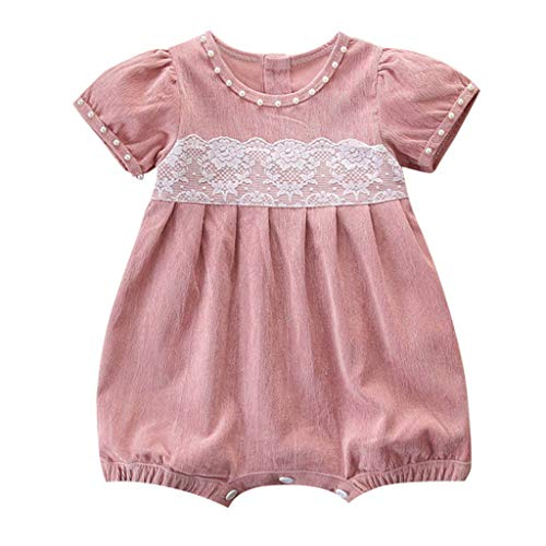 (2019 Baby Girl Romper Leegor Newborn Kids Outfit Clothes Corduroy Lace Short Sleeve Jumpsuit Bodysuit Pink)