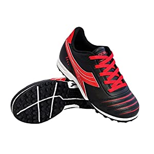 Diadora Kids Cattura TF Jr Turf Soccer Shoe (12.5 M US Little Kid, Black/Red)