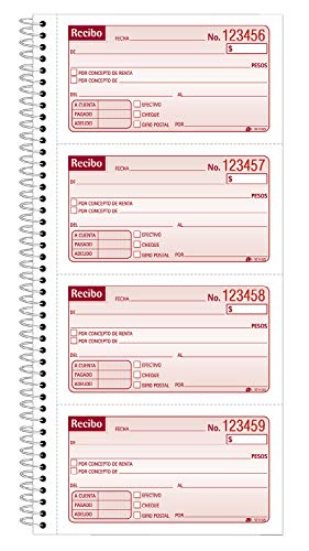 (Adams Recibo Renta o Dinero, Spanish Language Rent or Money Receipt Book, 2-Part, Carbonless, 200 Sets/Book, 4 Receipts/Page (SC1152S))