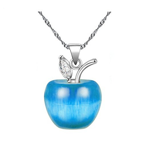 Uloveido Charm Blue Apple Pendant Necklace,Platinum Plated Fashion Collarbone Necklace Friendship Gift YL007-N-Blue